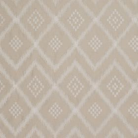 Prism Silk - Blanched Almond - Beige and white coloured 100% silk fabric patterned with a repeated tribal style diamond and zigzag design