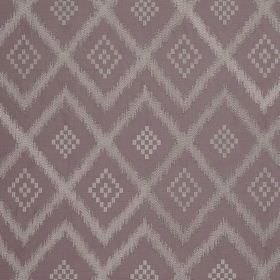 Prism Silk - Purple Smoke - Light shades of purple and grey making up a repeated diamond and zigzag pattern on 100% silk fabric