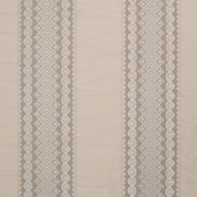 Cosmos Lace - Marble Grey - Light cream-beige coloured fabric made from various materials, printed with wide, patterned stripes in grey and