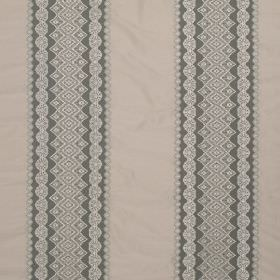 Cosmos Lace - Slate - Grey, white and beige coloured fabric containing various materials, featuring a wide, patterned stripe design