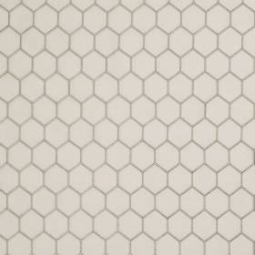 Honeycomb - Ivory Grey - A simple grey honeycomb pattern printed on a white linen and silk blend fabric background