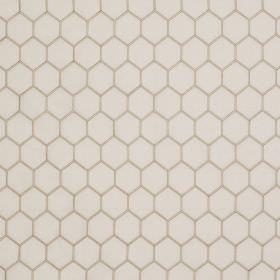 Honeycomb - Ivory and Natural - White fabric made from linen and silk behind a simple design of pale grey coloured hexagons