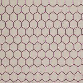 Honeycomb - Marble Grey and Purple - Hexagonal honeycomb designs printed in purple on a pale grey linen and silk blend fabric background