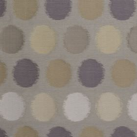 Luna - Pebble - Blurred circles printed in shades of blue, white, cream, brown and grey on a pale blue-grey blended fabric background
