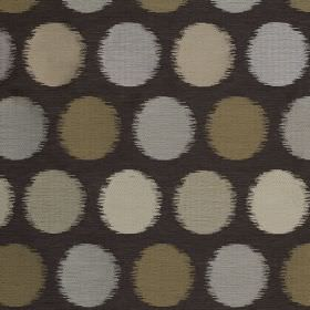 Luna - Mercury - Very dark grey fabric containing various materials behind blurred circles in beige, grey and off-white shades