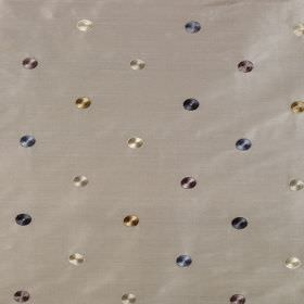 Jazzy Spot - Plover - Grey, white, brown and shades of blue making up a pattern of small shaded circles on a grey 100% silk fabric backgroun