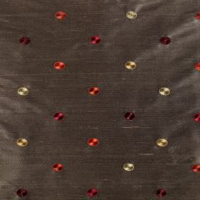 Jazzy Spot - Kestral - 100% silk fabric in dark grey behind a design of small, shaded circles in shades of red, purple and cream