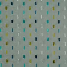 Soho Dash - Catamaran - Grey viscose and silk blend fabric behind rows of vertical dashes in vivid aqua, olive green, dark blue and white