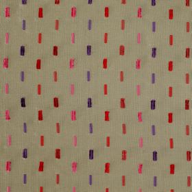 Soho Dash - Patina - Red, pink and purple vertical dashes on a grey viscose and silk blend fabric background