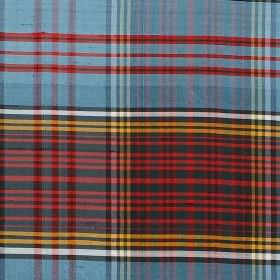 Tartan - Dark Anderson - Blue, orange, red, black and white coloured tartan style checked designs on fabric made from 100% silk