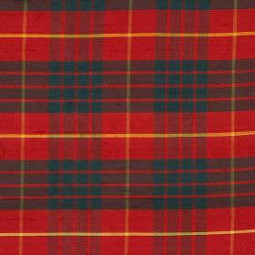 Tartan - Cameron - Bright red, navy blue and mustard yellow coloured tartan style checks patterning fabric made from 100% silk