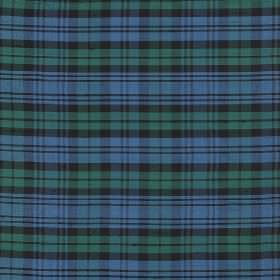 Tartan - Campbell - Classic cobalt blue, dusky green and dark grey coloured tartan patterned fabric made entirely from silk