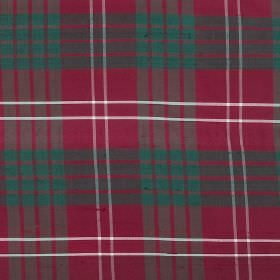 Tartan - Ancient Crawford - Fabric made from raspberry, dark turquoise and white coloured 100% silk, featuring a smart checked design