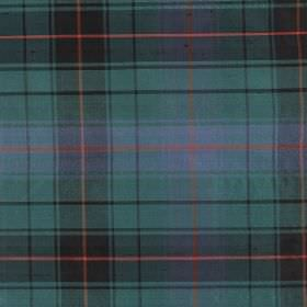 Tartan - Ancient Davidson - Tartan patterned fabric made entirely from silk in dark shades of green, blue, grey and red
