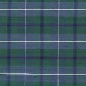 Tartan - Ancient Douglas - Blue, green and white checks making up a tartan style checked pattern on fabric made from 100% silk