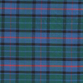 Tartan - Flower Of Scotland - Fabric made from 100% silk featuring a classic tartan style design in bright shades of blue, green, red and gr