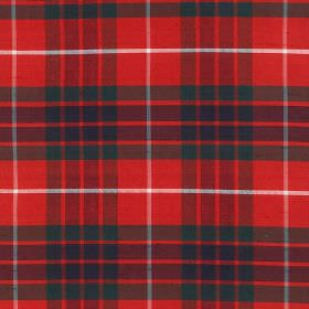 Tartan - Fraser - Bright red fabric made from 100% silk behind a checked design in white and very dark shades of green and blue