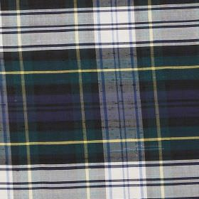 Tartan - Dress Gordon - White, blue, green, grey and yellow checked fabric made entirely from silk