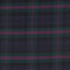 Tartan - Baird - 100% silk fabric with a tartan style design in deep shades of green, blue and purple