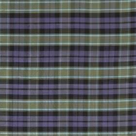 Tartan - Graham - Lilac, light grey and sky blue coloured checks patterning 100% silk fabric