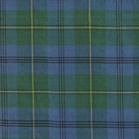 Tartan - Ancient Johnson - Light blue and green checked 100% silk fabric covered with subtle grid lines in very dark grey and light yellow
