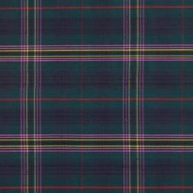 Tartan - Kennedy - Multicoloured 100% silk fabric featuring a modern tartan style design in blue, green, grey, red, yellow and lilac