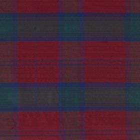 Tartan - Lindsay - Large checks patterning 100% silk fabric in burgundy, emerald green and cobalt blue