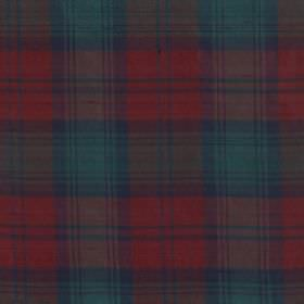 Tartan - Modern Lindsay - Fabric made from 100% silk covered with a large, simple tartan style checked design in dusky shades of red, green