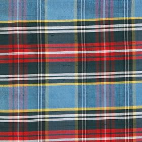 Tartan - Macbeth - Bright white, red, yellow, light blue and dark grey checks patterning 100% silk fabric in a modern tartan style design