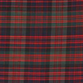 Tartan - Modern Macdonald - 100% silk fabric covered with a bright red, dark blue and emerald green coloured checked design