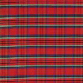 Tartan - Macduff Of Duff - Seafoam, light blue and dark grey grids printed on bright red coloured 100% silk fabric in a checked design