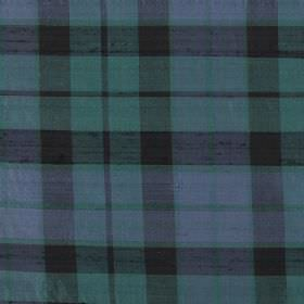 Tartan - Mackay - Patchily printed dark grey, dusky green and blue coloured checked fabric made from 100% silk