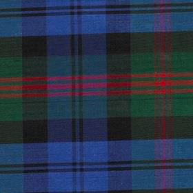 Tartan - Old Baird - Classic blue, green and red coloured tartan patterned 100% silk fabric