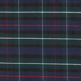 Tartan - Mackenzie - Fabric made from tartan print patterned 100% silk in white, red and dark shades of grey, green and blue