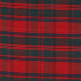 Tartan - Mackintosh - Bright tartan style patterned 100% silk fabric featuring red, green and blue