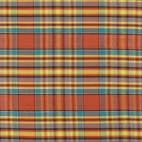 Tartan - Mackintosh Chief - Summery checked 100% silk fabric including light shades of yellow, orange, blue and lilac