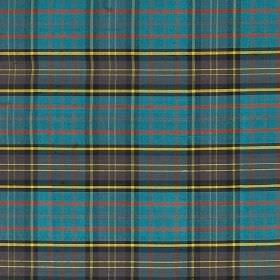 Tartan - Hunting Macmillian - 100% silk fabric covered with a bright checked design in light red, pale yellow, dusky purple and cobalt blue