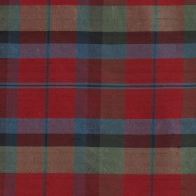 Tartan - Macnaughton - Bright red, light grey, slate grey and cobalt blue coloured 100% silk fabric covered with a large checked design