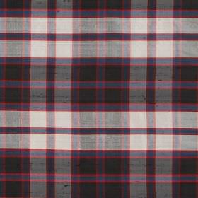 Tartan - Macpherson - Checked fabric made from black, white, red and navy blue coloured 100% silk