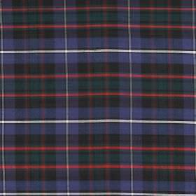 Tartan - Hunting Macrae - A regular checked pattern printed in white, charcoal grey, red, navy blue and dark green on 100% silk fabric