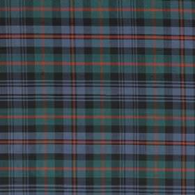 Tartan - Murray - Dark grey, emerald green, light red and cobalt blue making up a classic tartan style design on 100% silk fabric