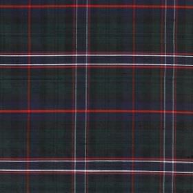 Tartan - The National Tartan - 100% silk fabric covered with a simple but dark tartan design in blue, green and grey, with some bright red a