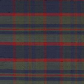 Tartan - Perthshire - Dusky green-grey, navy blue and tomato red checks printed on a background of fabric made entirely from silk