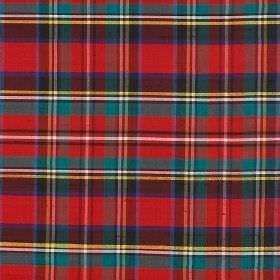 Tartan - Prince Charles - Brightly coloured checked 100% silk fabric featuring red, aqua blue, yellow, white, Royal blue and dark grey