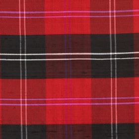 Tartan - Red Ramsey - Bright red and black checked fabric, featuring some white and pink lines, on a 100% silk fabric background