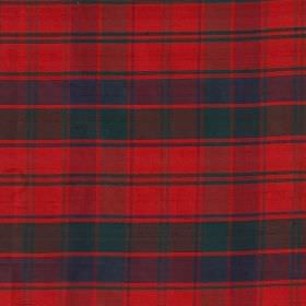 Tartan - Robertson - Dark green, navy blue and bright red coloured 100% silk fabric, featuring a classic tartan style design