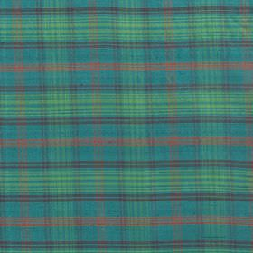 Tartan - Hunting Ross - Fabric made from tartan patterned 100% silk in light, bright shades of green, yellow and aqua blue
