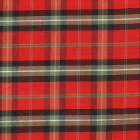 Tartan - Ruthven - 100% silk fabric covered with a simple checked design in bright red, black, light grey and white