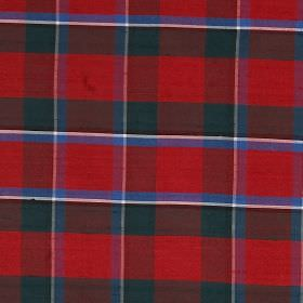 Tartan - Sinclair - Red, dark green, cobalt blue, black and white checked fabric made from 100% silk