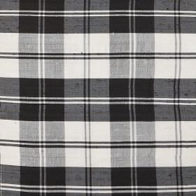 Tartan - Black White Erskine - Monochrome 100% silk fabric featuring a black and white checked design
